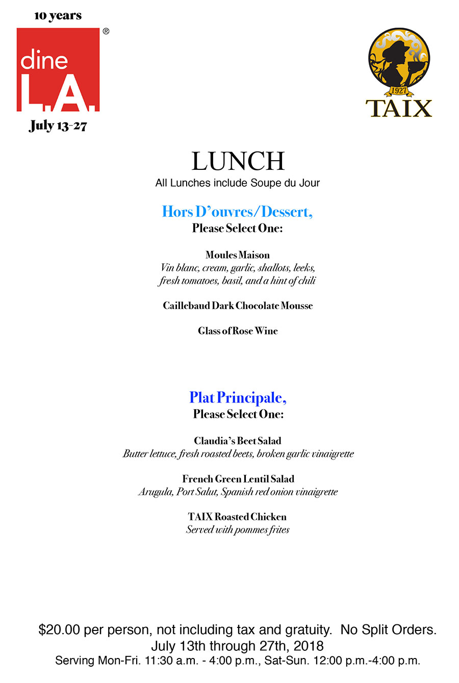 dine l.a. – lunch menu | taix french restaurant - los angeles, echo